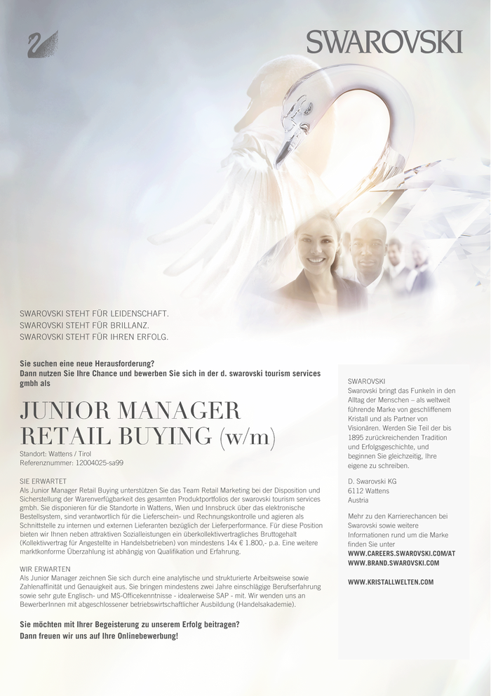 JUNIOR MANAGER RETAIL BUYING (w/m)