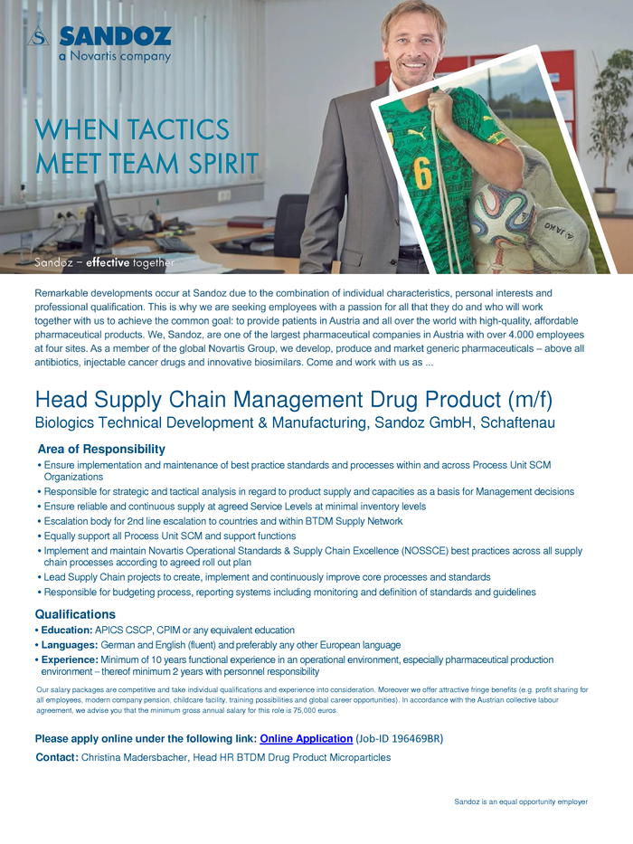 Head Supply Chain Management Drug Product (m/f)
