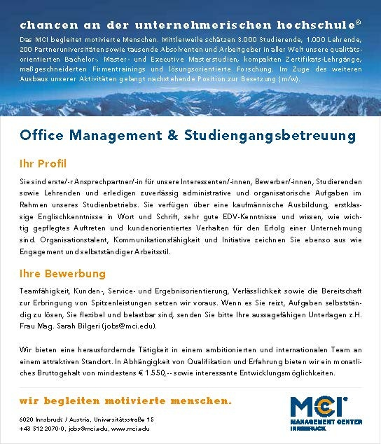 Office Management & Studiengangsbetreuung (m/w)