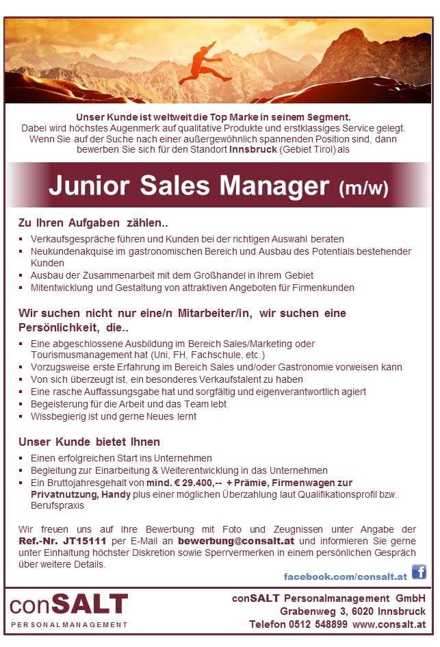 Junior Sales Manager/in