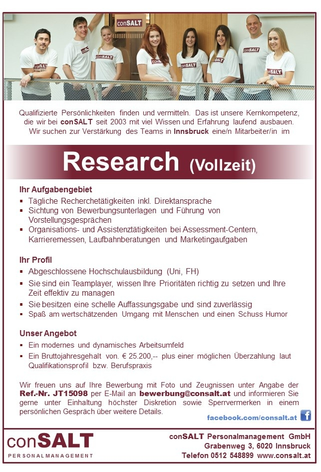 Mitarbeiter/in Research