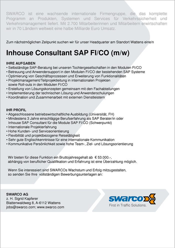 Inhouse- Consultant SAP FI/CO (m/w)