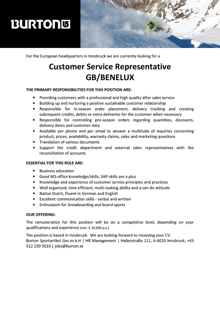 Customer Service Representative GB/Benelux