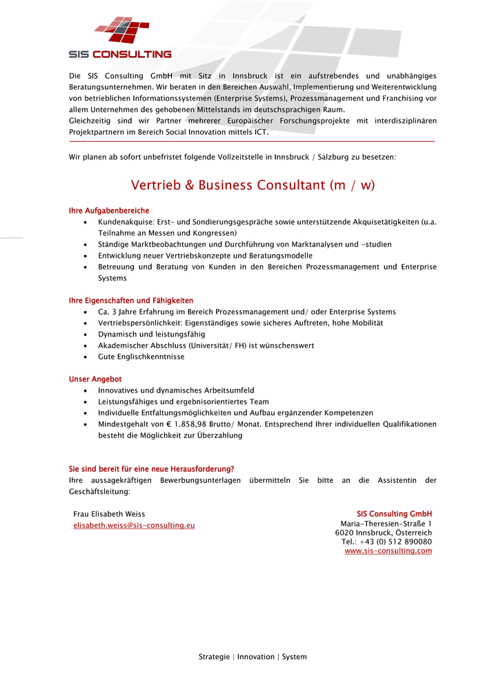 Vertrieb & Business Consultant (m / w)