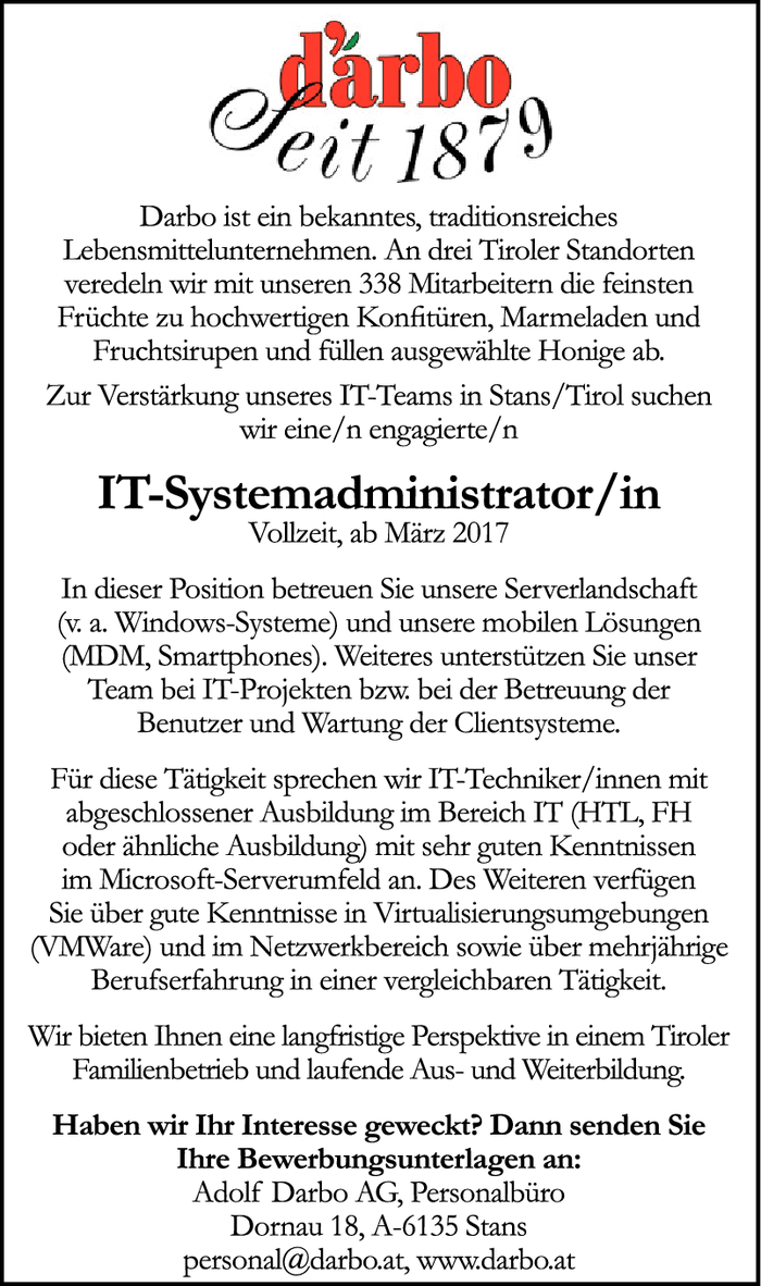 IT-Systemadministrator/in