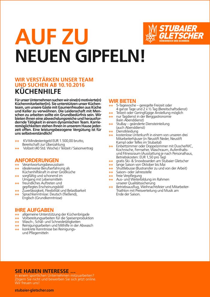 Küchenhilfe Jobs Aargau ~ küchenhilfe in neustift im stubaital gesucht bewirb dich auf jobs tt com