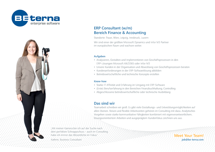 ERP Consultant (w/m), Bereich Finance & Accounting