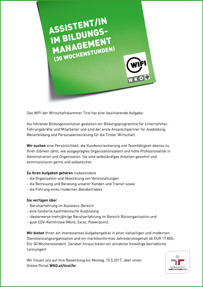 Assistent/in im Bildungsmanagement