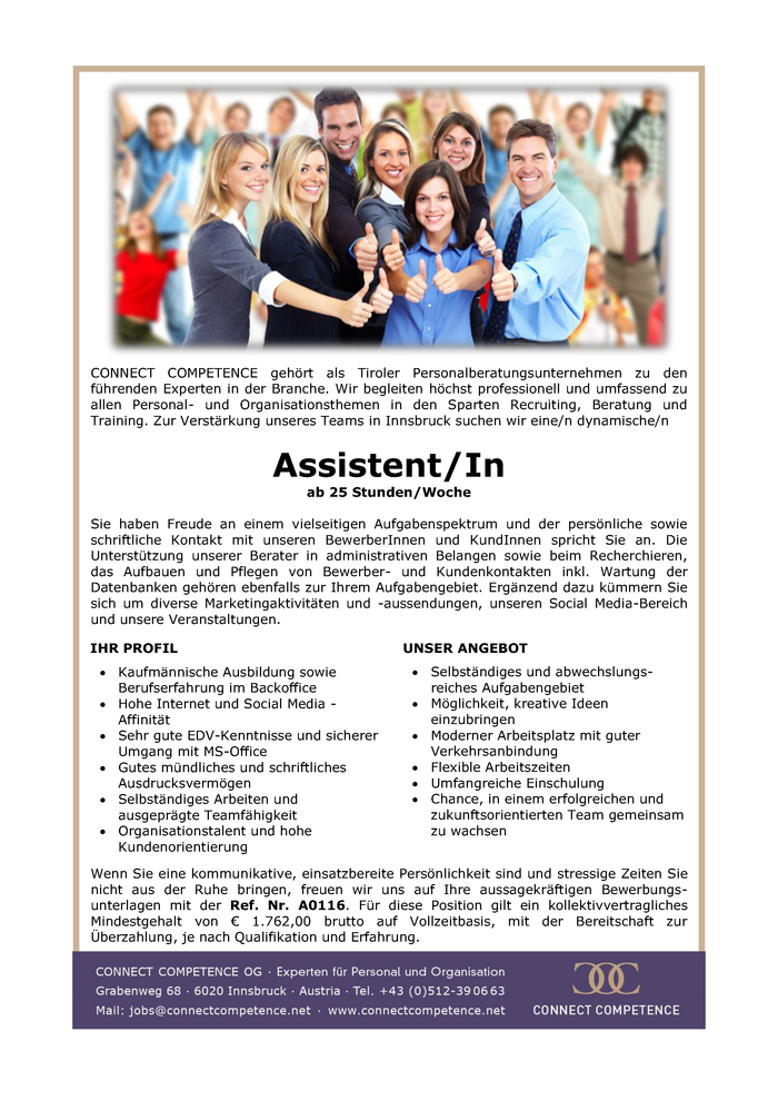 Assistent/In  ab 25h / Woche