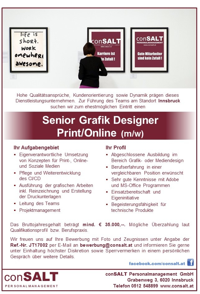 Senior grafik designer print online m w in bezirk for Grafik design job