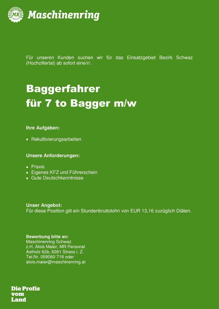 Baggerfahrer 7 to Bagger m/w