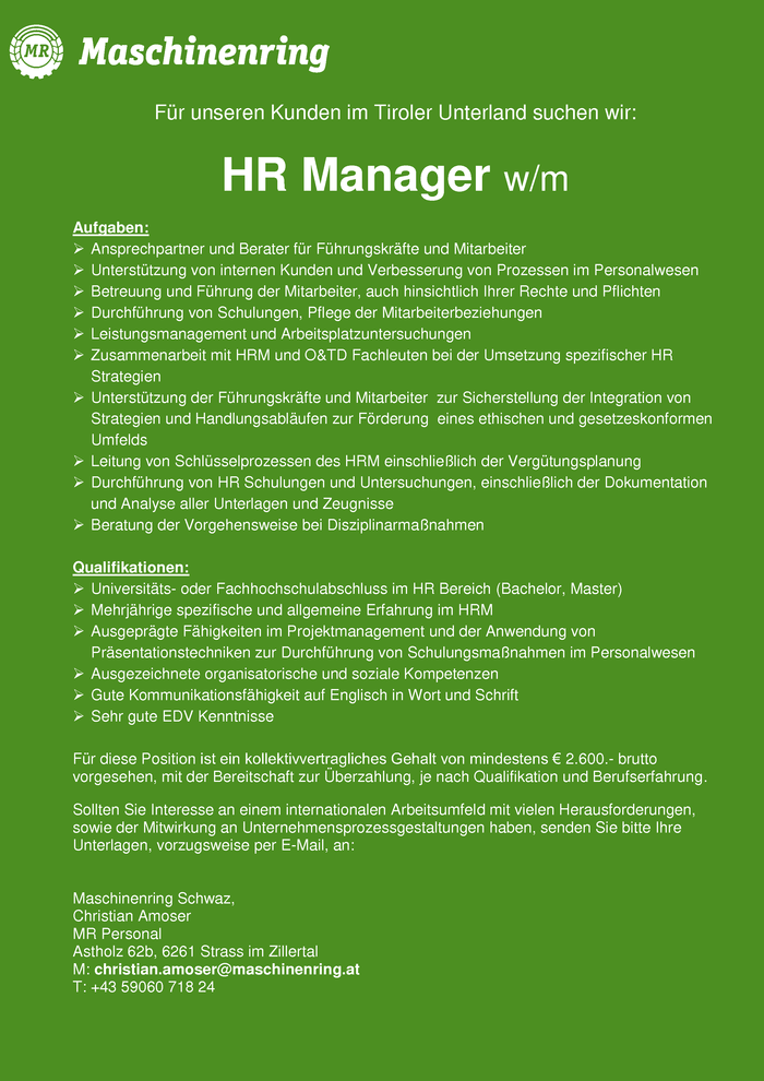 HR Manager m/w
