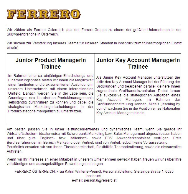 Junior product managerin trainee und junior key account for Trainee produktdesign