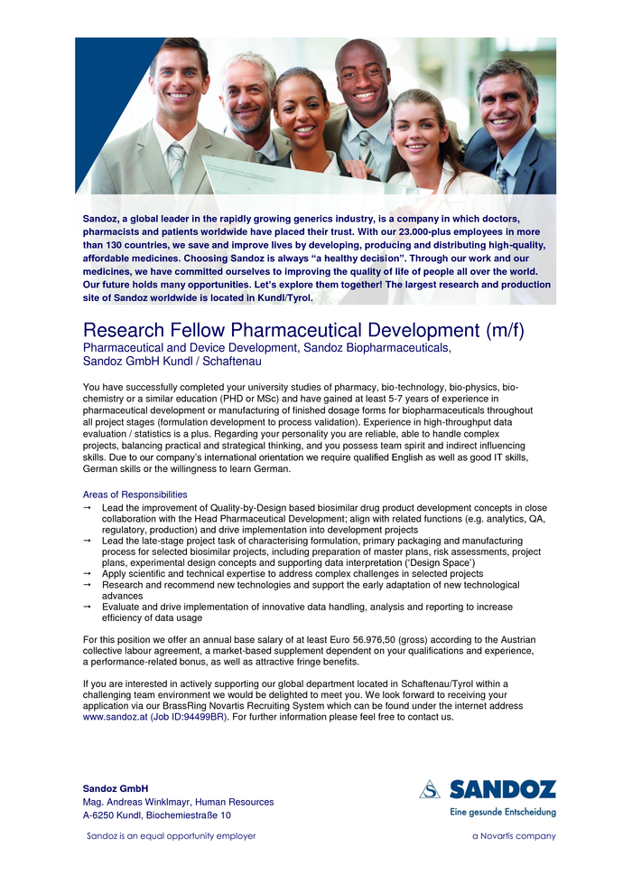 QbD Manager Biopharmaceutical Drug Product (m/w) Pharmaceutical and Device Development, Sandoz Biopharmaceuticals,