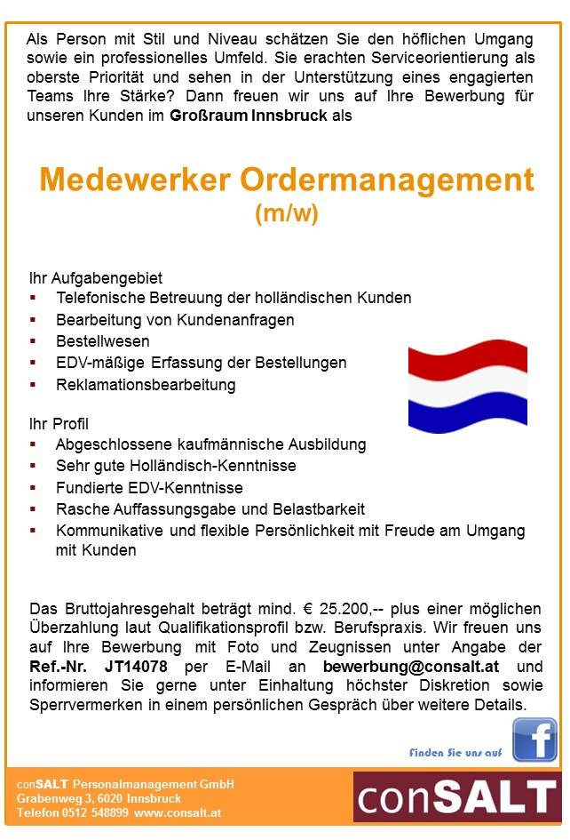 Medewerker Ordermanagement (m/w)