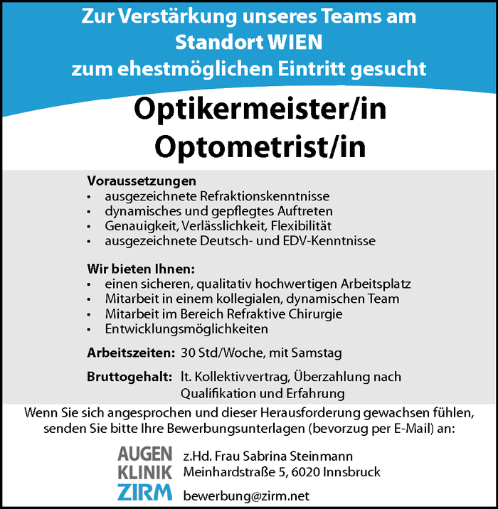 Optikermeister/in, Optometristin