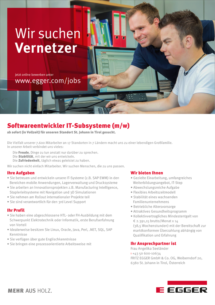 Softwareentwickler IT-Subsysteme (m/w)