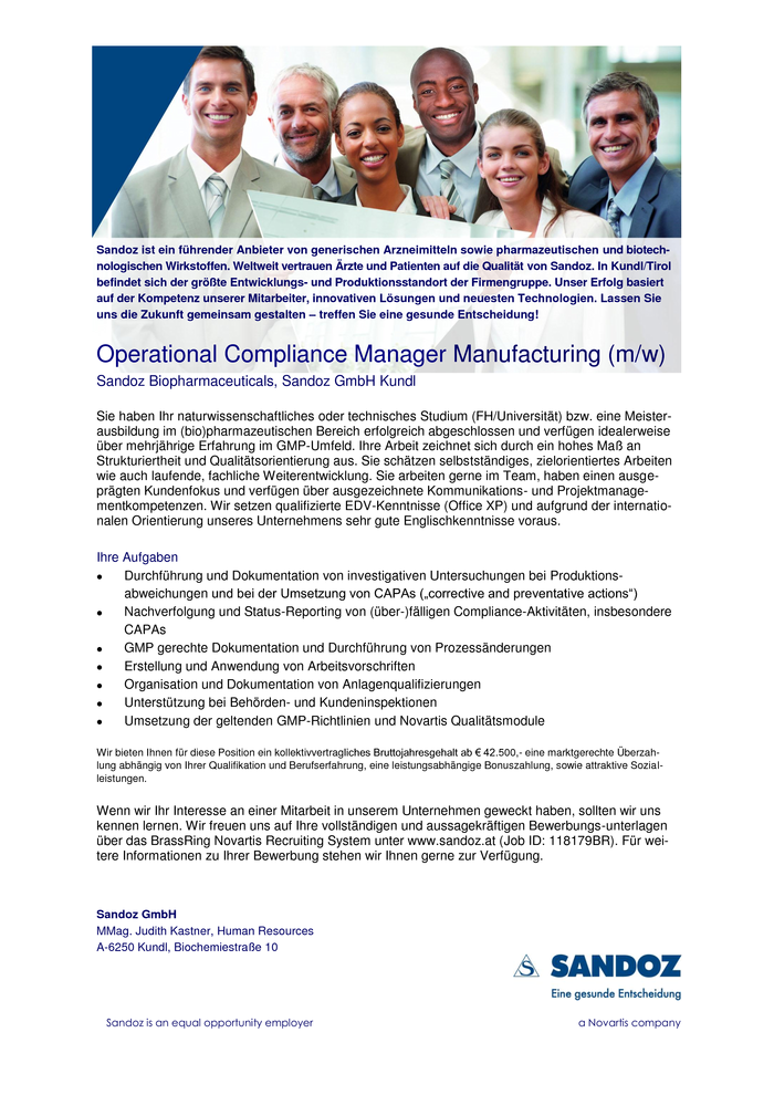 Operational Compliance Manager Manufacturing (m/w)