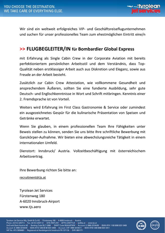 Flugbegleiter in f r bombardier global express in for Koch gehalt netto