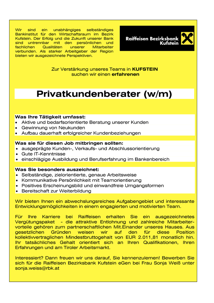 PRIVATKUNDENBERATER  (w/m)