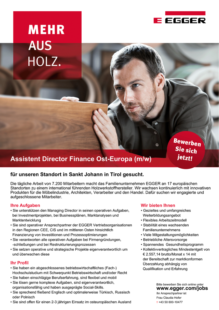 Assistent Director Finance Ost-Europa