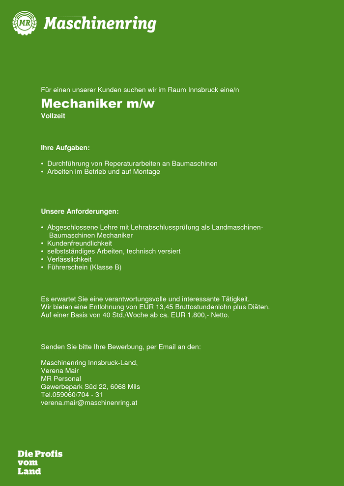 Mechaniker m/w