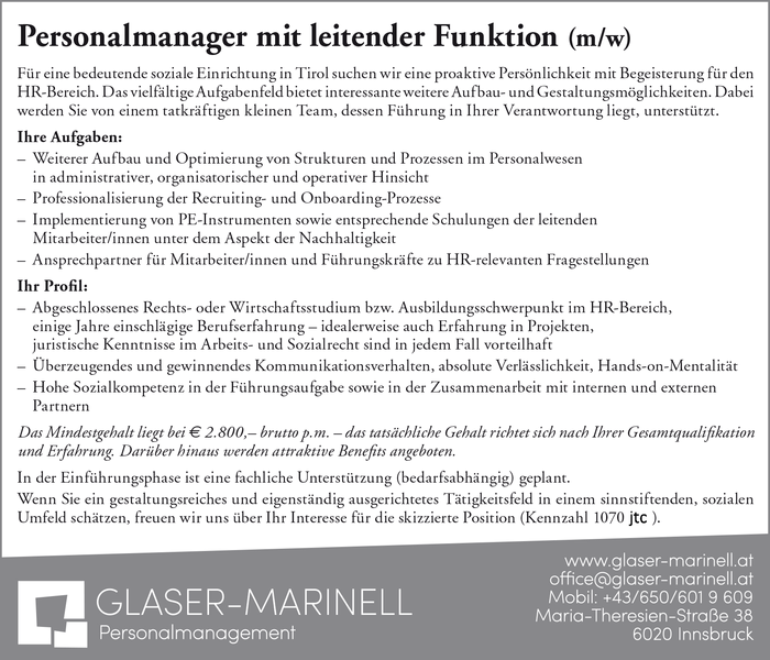 Personalmanager mit leitender Funktion (m/w)