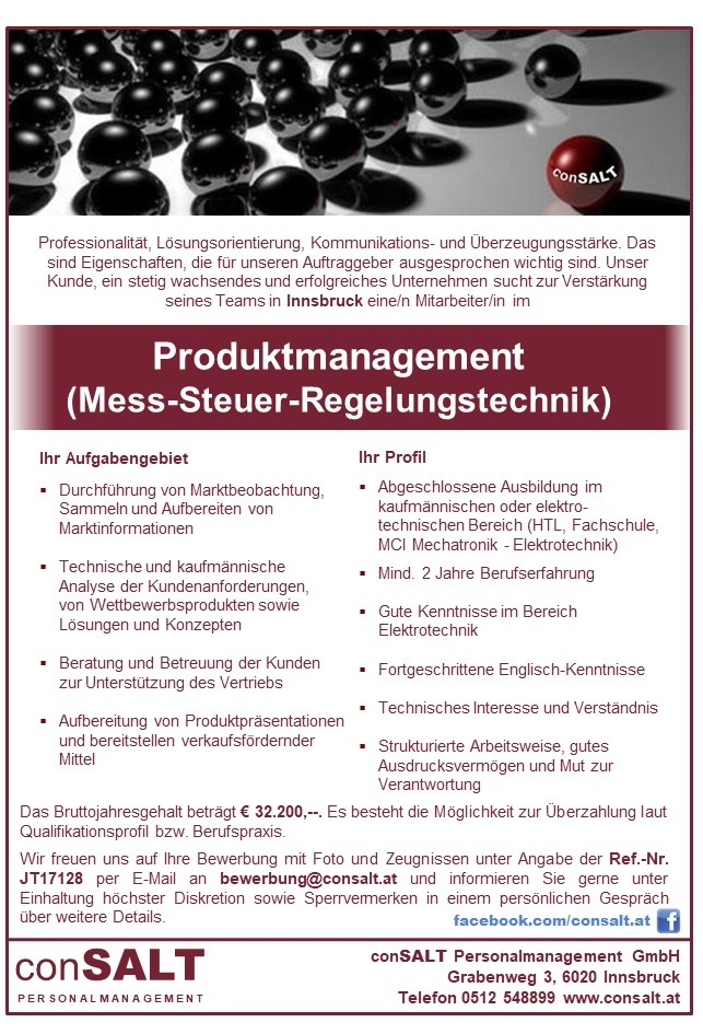 Produktmanagement (Mess-Steuer-Regelungstechnik)
