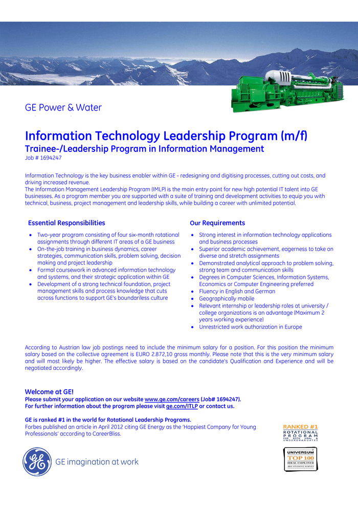 Information Technology Leadership Program (m/f)  