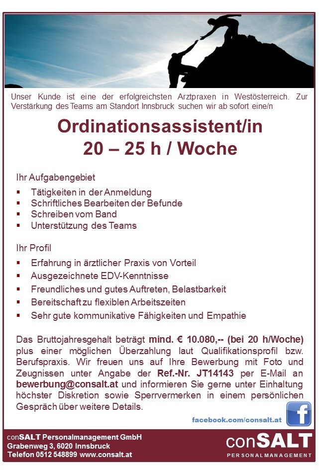 Ordinationsassistent/in in Teilzeit