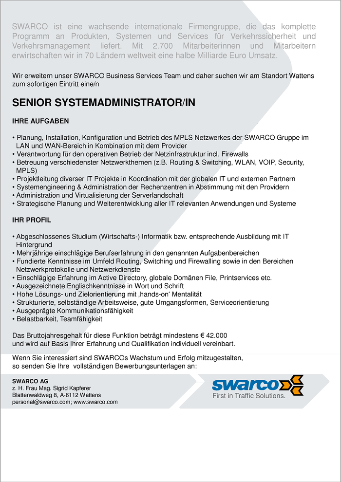 Senior Systemadministrator/in