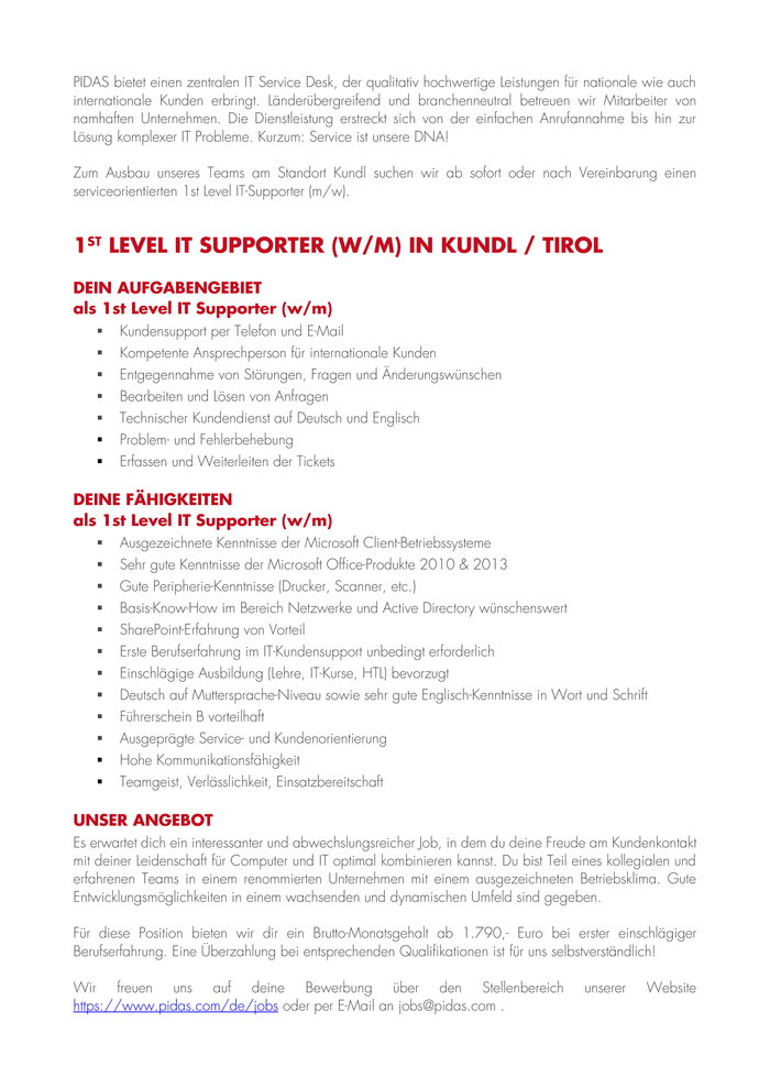 1st Level IT Supporter (w/m) in Kundl