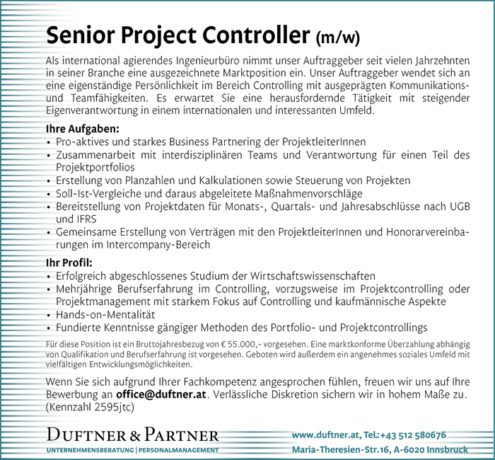 Senior Project Controller (m/w)