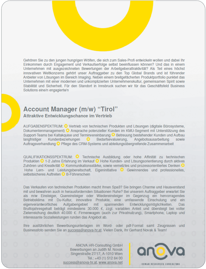 "Account Manager (m/w) ""Tirol"""