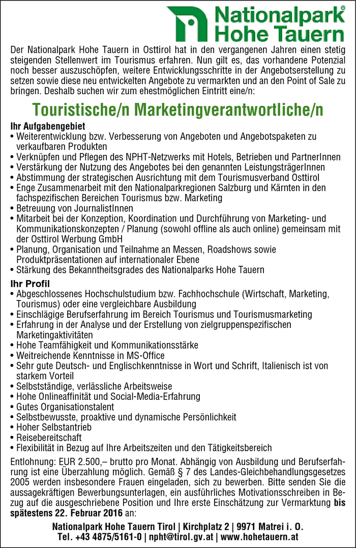 Touristische/r Marketingverantwortliche/r