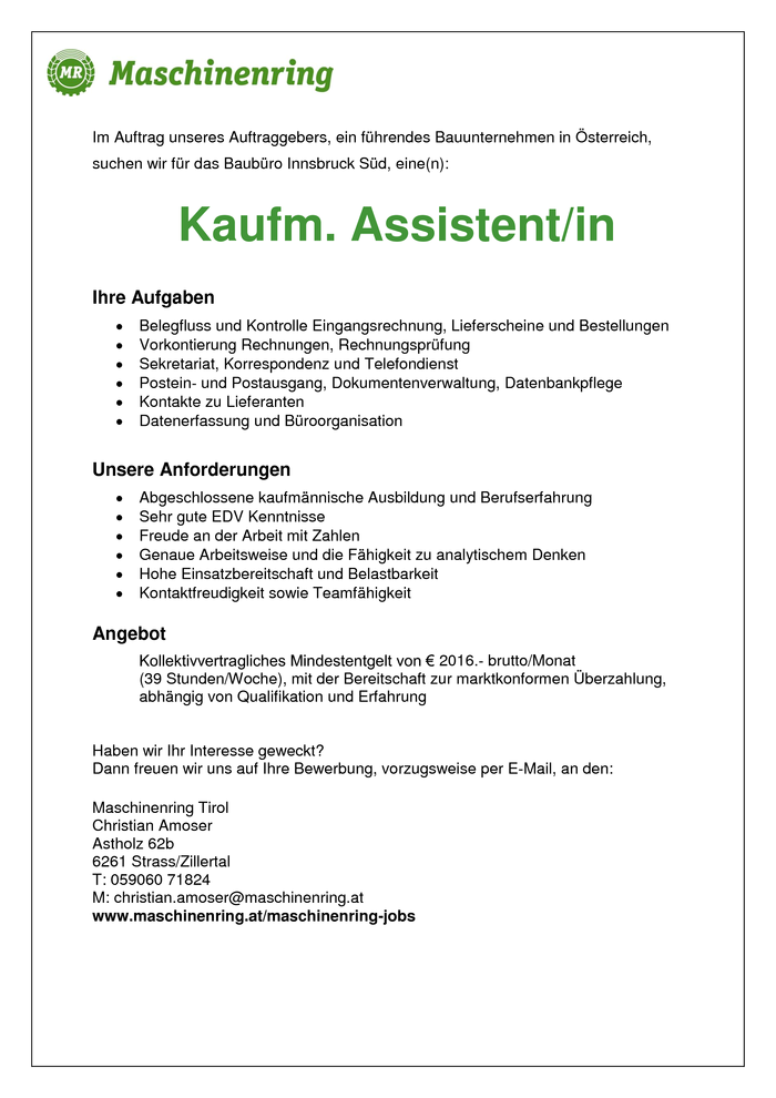 Kaufm. Assistent/in