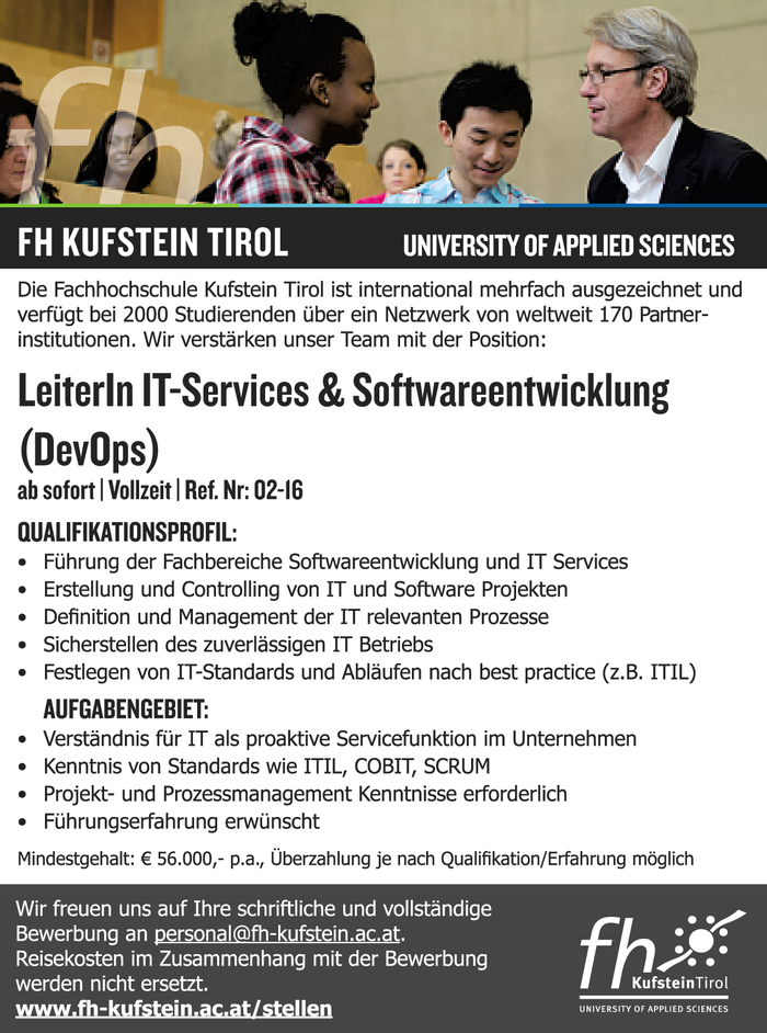 LeiterIn IT-Services & Softwareentwicklung (DevOps)