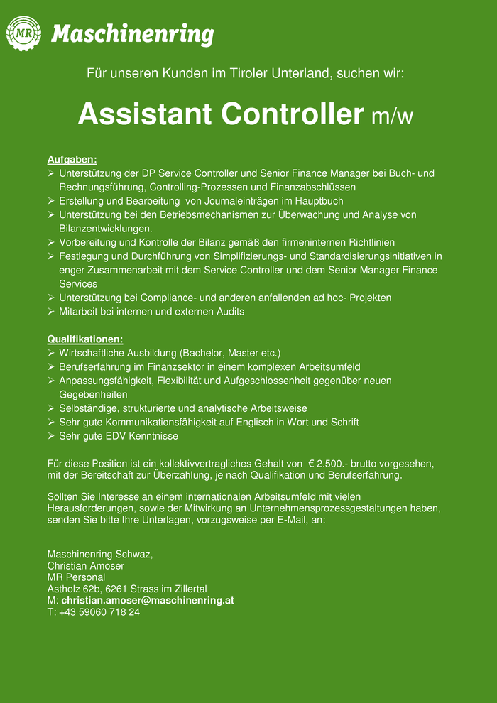 Assistant Controller m/w