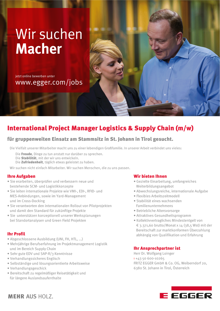 International Project Manager Logistics & Supply Chain (m/w)