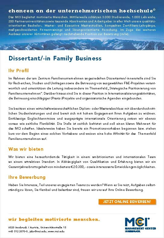 Dissertant/-in Schwerpunkt Family Business