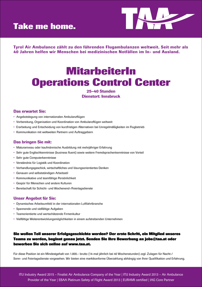 MitarbeiterIn Operations Control Center