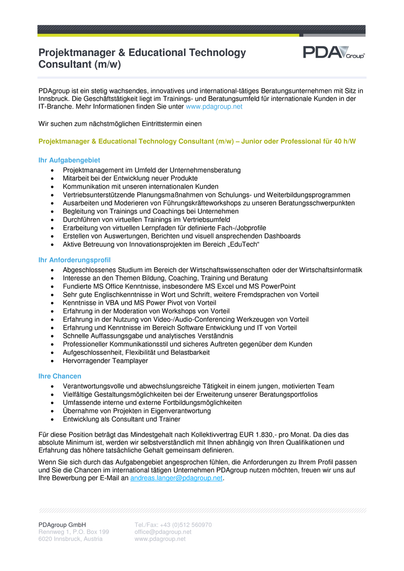 Projektmanager & Educational Technology Consultant (m/w)