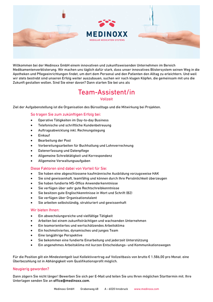 Team-Assistent/in in Vollzeit