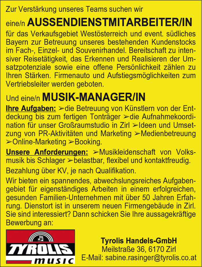 AUSSENDIENSTMITARBEITER/IN & MUSIK-MANAGER/IN