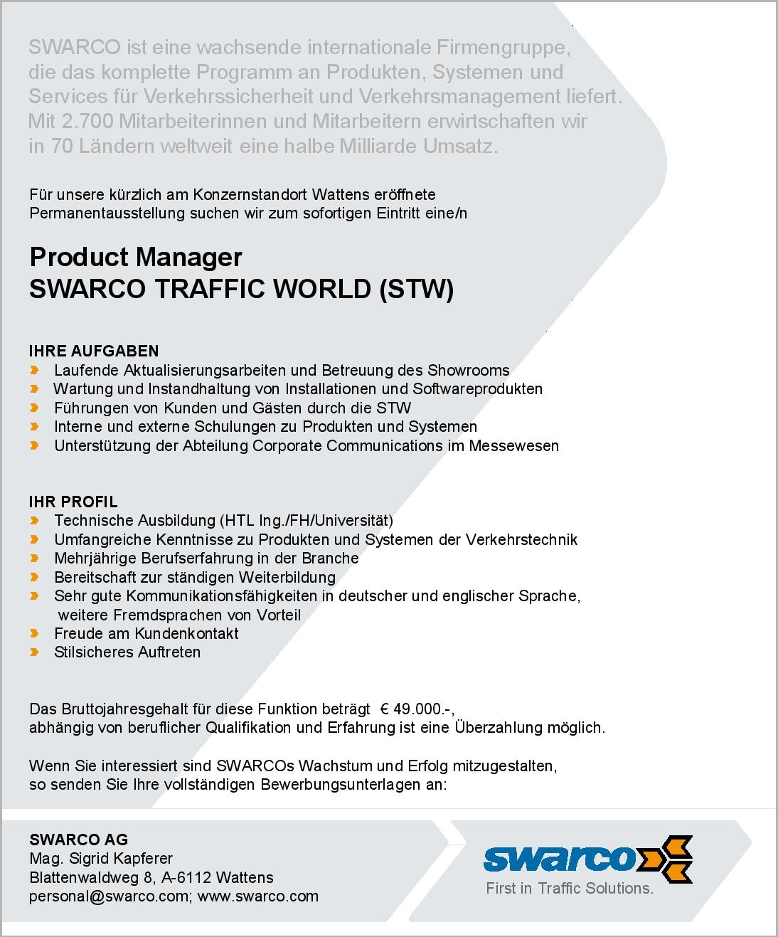 Product Manager SWARCO Traffic World (STW)
