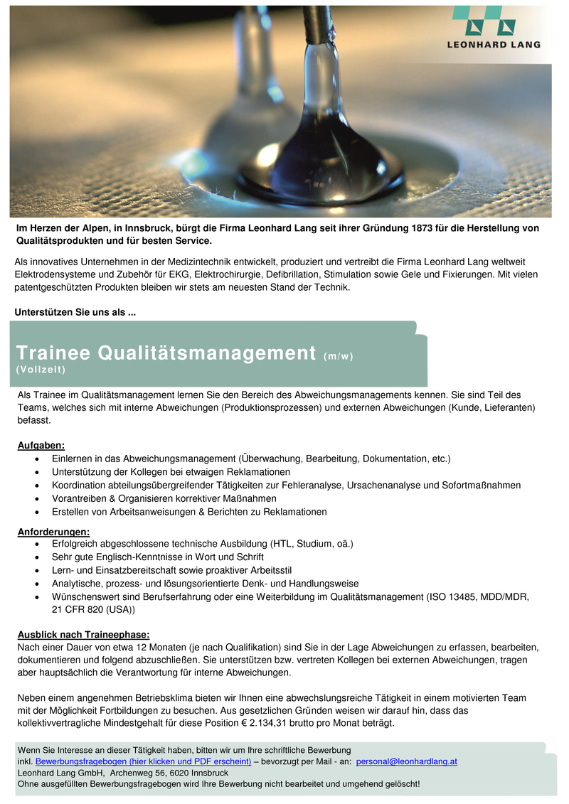 Trainee Qualitätsmanagement (m/w)