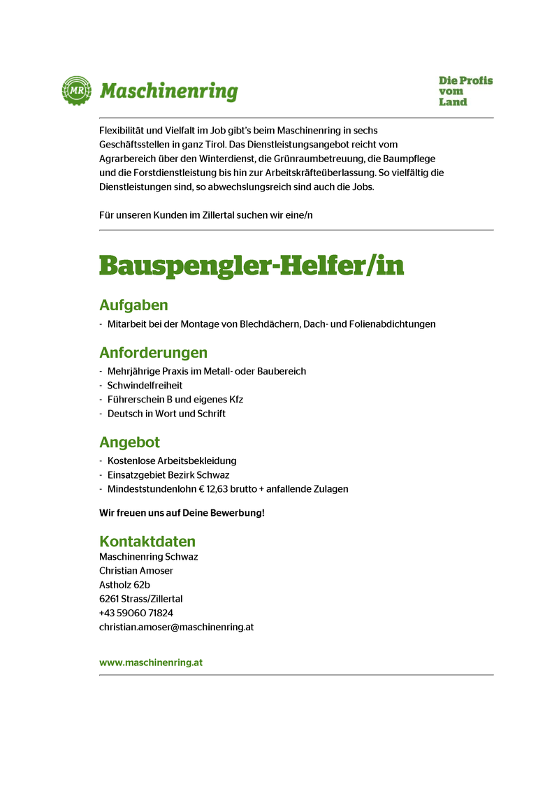 Bauspengler-Helfer/in