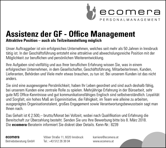 Assistenz der GF - Office Management