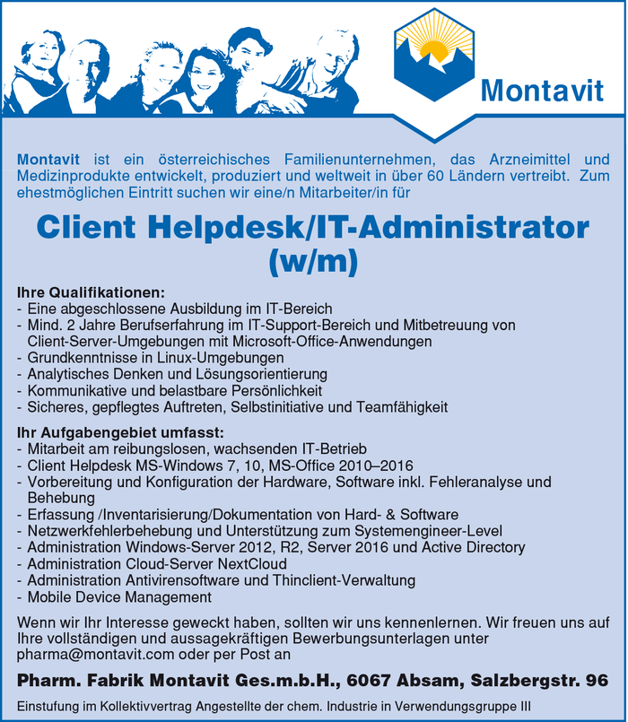 Client Helpdesk/IT-Administrator (w/m)