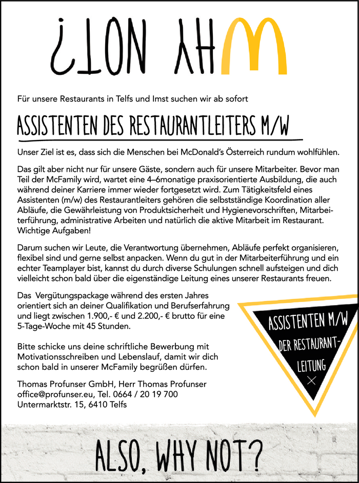 ASSISTENTEN DES RESTAURANTLEITERS M/W
